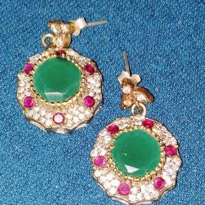 Emerald, Ruby, Gemstone Earrings